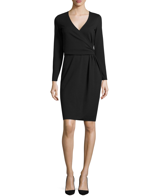 Long-Sleeve Faux-Wrap Dress, Navy