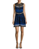 Sleeveless Jacquard Fit-and-Flare Dress