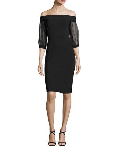Elke Off-the-Shoulder Cocktail Dress, Black