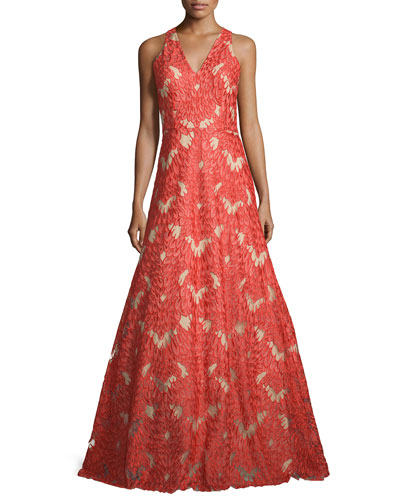Sleeveless V-Neck Lace Gown, Red