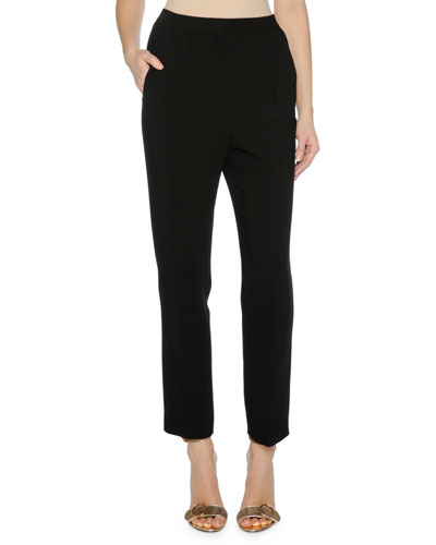 Cropped Cady Stretch Pants, Black