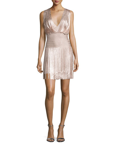 Naomi Draped Foil Fringe Dress, Rose Gold Foil