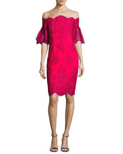 Off-the-Shoulder Lace Sheath Dress, Fuchsia