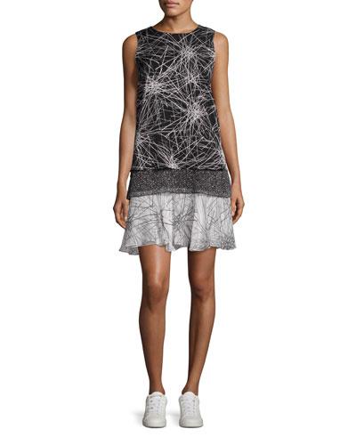 Liza Mixed-Print Tiered Tank Dress