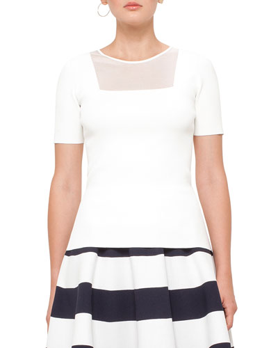 Knit Short-Sleeve Sheer-Panel Top