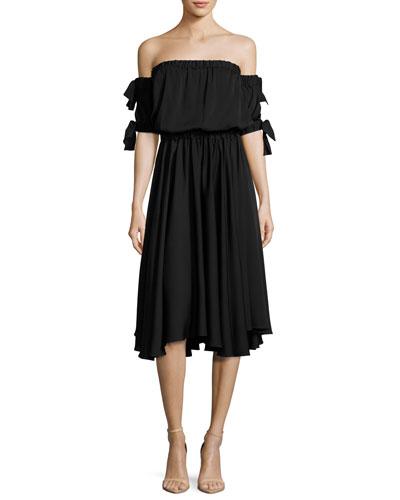 Zoey Off-the-Shoulder Stretch-Silk Midi Dress
