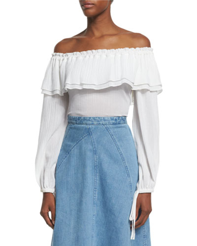 Off-Shoulder Cotton Peasant Blouse, Optic White