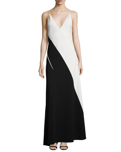 Colorblock Sleeveless V-Neck Gown, Black/White