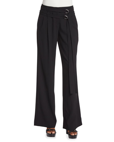 Pleated-Front Wrap-Belt Wool Pants, Black