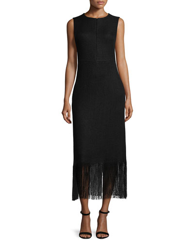 Sleeveless Chevron-Knit Fringed Dress, Black