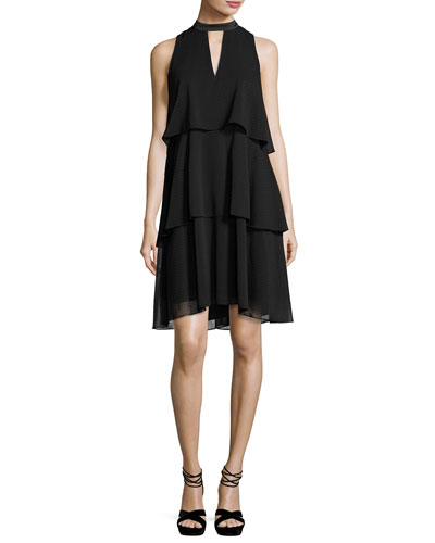 Sleeveless Tiered Chiffon Cocktail Dress, Black