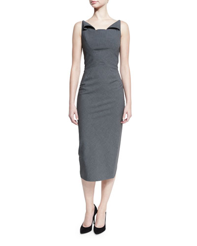 Sleeveless Neck-Flap Sheath Dress