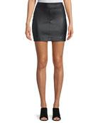 Straight Leather Mini Skirt