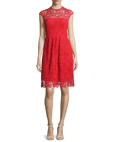 Cap-Sleeve Jewel-Neck Lace Dress, Red