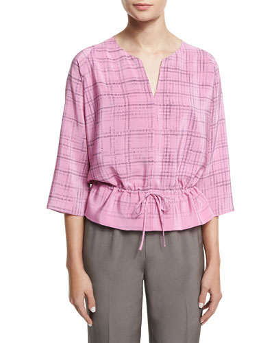 3/4-Sleeve Drawstring-Waist Printed Top, Pink