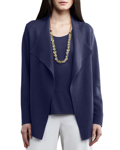Open Interlock Jacket, Navy, Plus Size