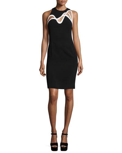 Swirl-Cutout Sleeveless Dress, Black/White