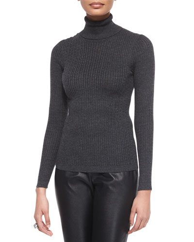 Ribbed-Knit Turtleneck Sweater, Gray Marble