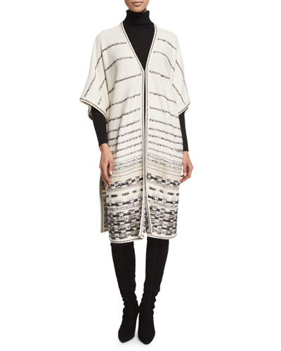 Toma Striped Long Jacket, Frost/Multi