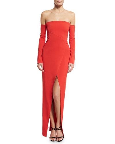 Long-Sleeve Off-the-Shoulder Column Gown, Red