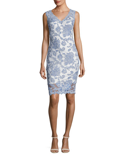 Sleeveless Lace Cocktail Dress, Blue Stone
