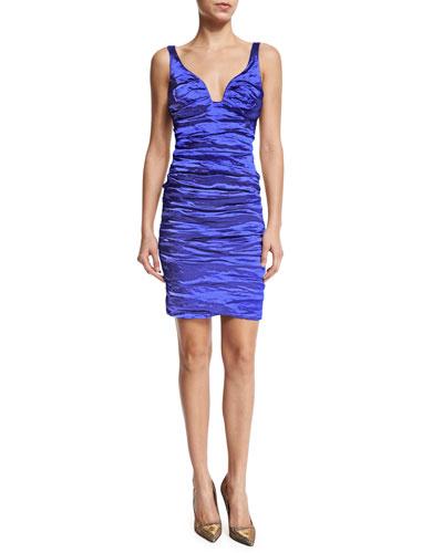 Sleeveless V-Neck Cocktail Dress, Electric