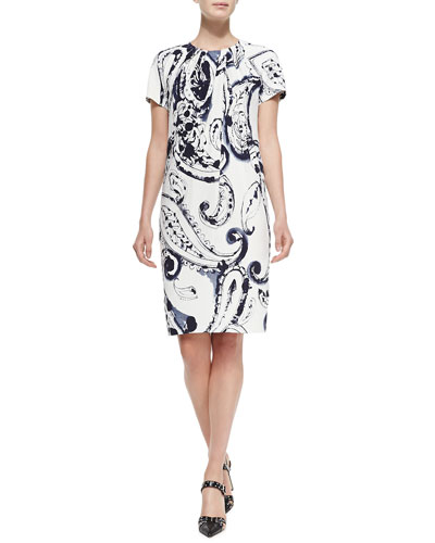 Short-Sleeve Printed Dress w/ Pleated Neck