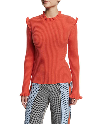 Ribbed Cashmere Ruffle-Trim Sweater