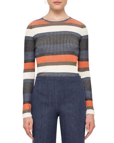 Striped Long-Sleeve Wool Sweater