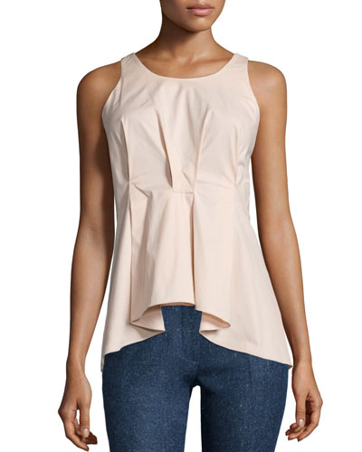 Sleeveless Pleated-Front Poplin Top, Rose