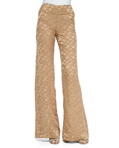 High-Waist Wide-Leg Pants, Nude