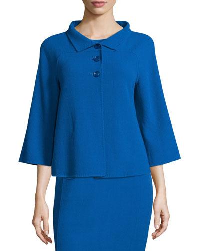 3/4-Sleeve Three-Button Jacket, Cornflower