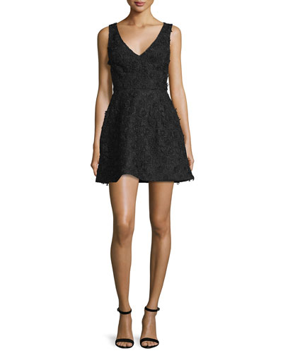 Sleeveless Floral-Applique Mini Dress, Black