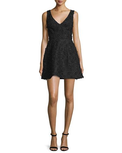 Sleeveless Floral-Applique Mini Dress, Black
