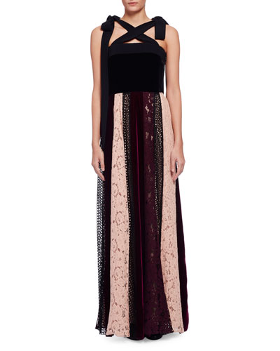Sleeveless Velvet Combo Gown w/Paneled Lace Skirt