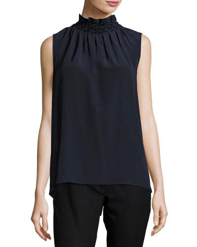 Gill Ruffled Sleeveless Top, Navy