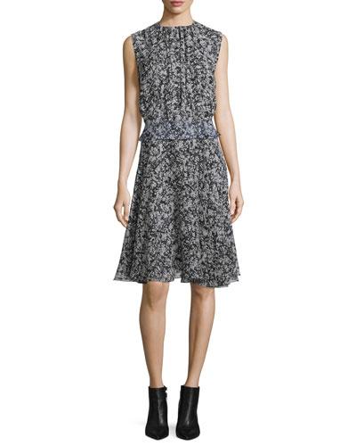 Sleeveless Printed Georgette Dress, Black/White