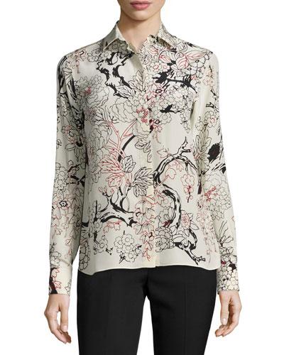Floral Long-Sleeve Silk Blouse, Milk