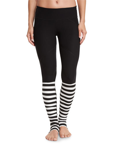 Bumble Rhythm Striped Stirrup Leggings, Black/White