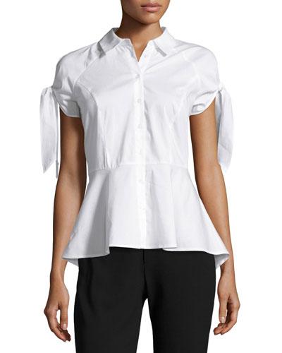 Cold-Shoulder Tie-Sleeve Peplum Shirt, White