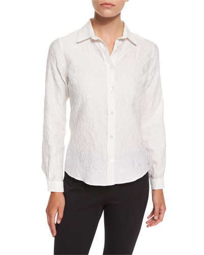 Long-Sleeve Matelasse Blouse, White