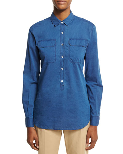 Janice Denim Half-Button Blouse, Blue