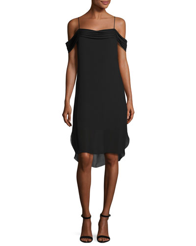 Cold-Shoulder Silk Georgette Dress, Black