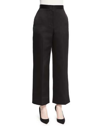 Resme Wide-Leg Cropped Pants, Black