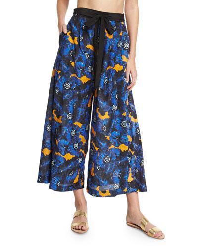 Poppy Palazzo Coverup Pants, Lapis