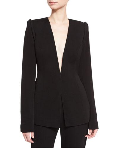 Piped-Shoulder V-Neck Jacket, Black