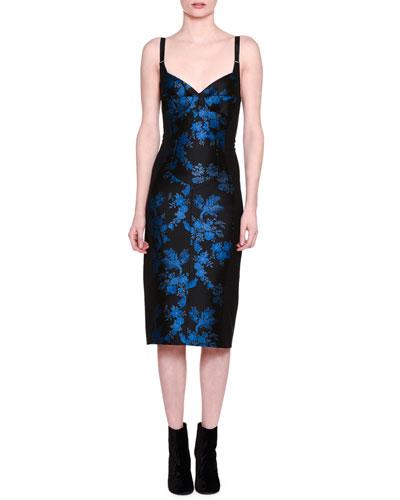 Floral Brocade Bustier Dress, Black/Blue