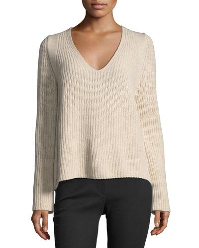 Ribbed V-Neck Pullover Sweater