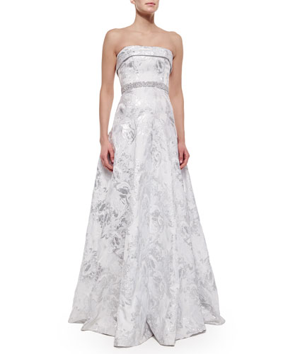 Strapless Embellished-Waist Gown, Silver
