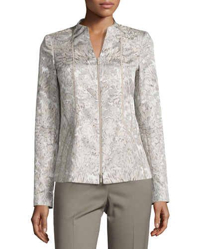 Floral-Print Paneled Jacquard Jacket, Multi, Plus Size